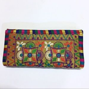 Hippie boho embroidered large wallet